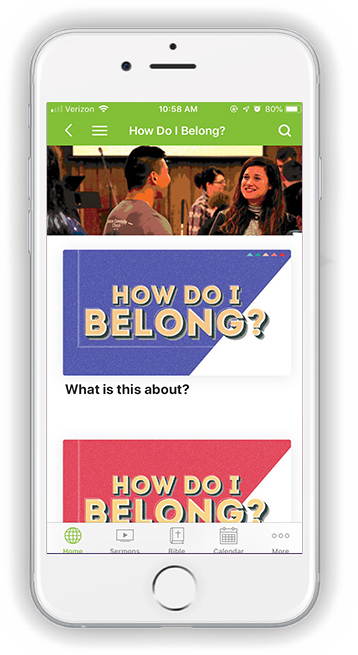 Phone Belong Landing Page on the app